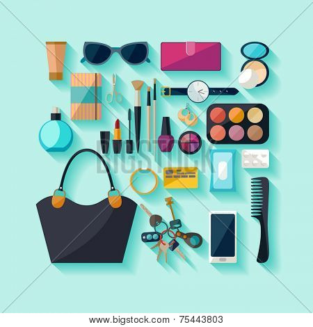 Women accessories. Flat design.