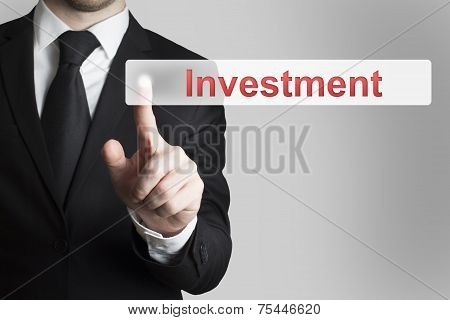 Businessman Pushing Flat Button Investment
