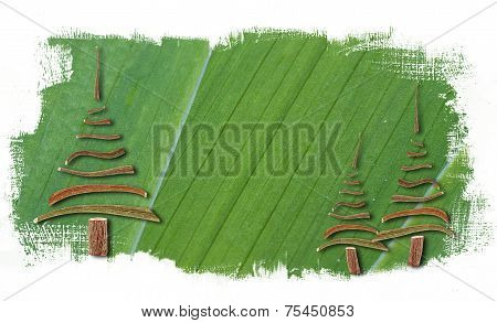 Green Paint Abstract Background With Christmas Trees
