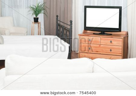 The big TV set in bedroom
