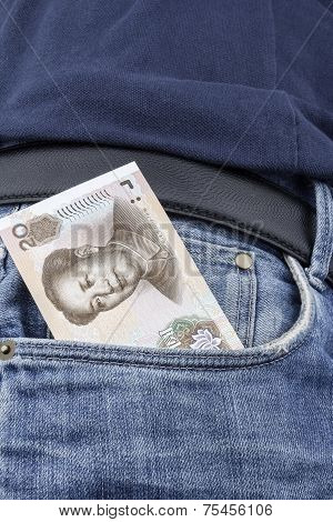 Chinese Money (rmb) In A Pocket.