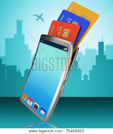 Credit Card Online Representing World Wide Web And Internet poster