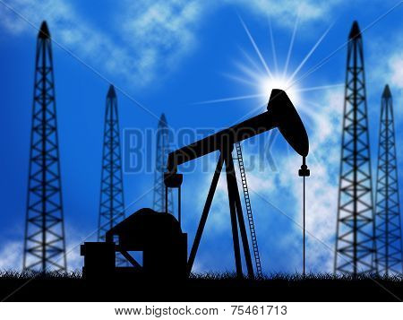 Oil Wells Means Power Source And Drill
