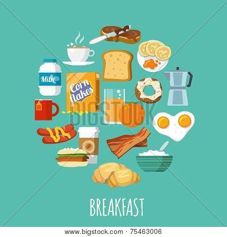 Breakfast icon flat