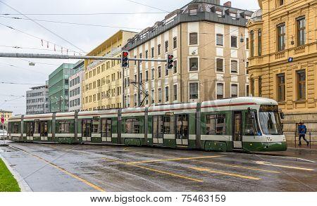 Modern Tram On A Street Of Augsburg - Germany, Bavaria