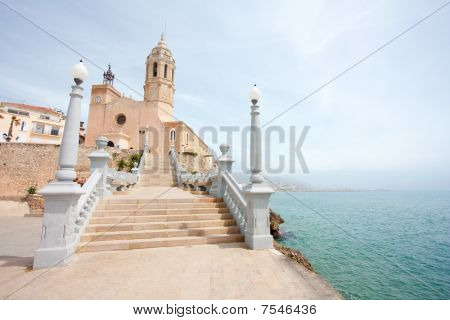 Church Of Sant Bertomeu And Santa Tecla In Sitges (barcelona, Spain)