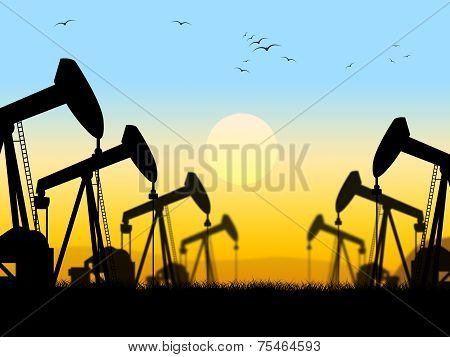 Oil Wells Shows Nonrenewable Fuel And Exploration