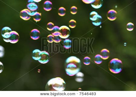 Floating soap bubbles