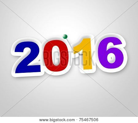 New Year Indicates Two Thousand Sixteen And Advertisement