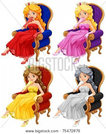 Pricess in chair set on white