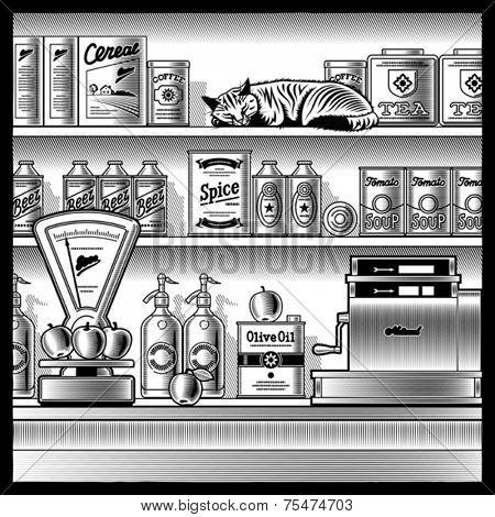 Retro store black and white. Vector