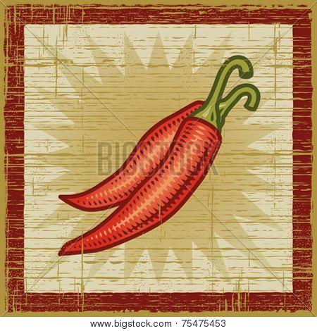 Retro chili pepper. Vector