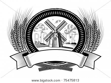 Cereal harvest label black and white. Vector