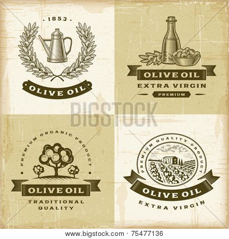 Vintage olive oil labels set. Fully editable EPS10 vector.