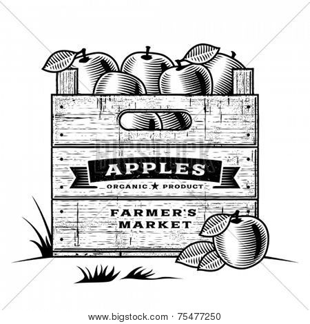 Retro crate of apples black and white. Editable vector illustration with clipping mask.