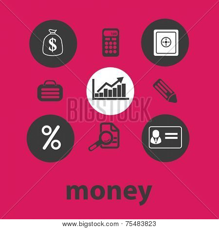 money, bank, finance black isolated icons, signs, symbols, illustrations set, vector
