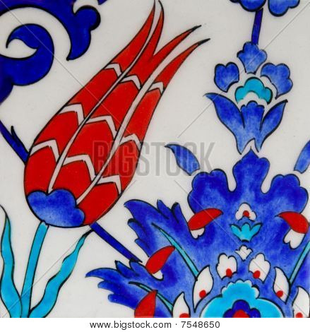 Decorative turkish tiles on a wall - tulip pattern poster