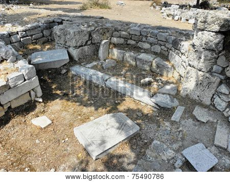 The ruins of a small Byzantine basilica.