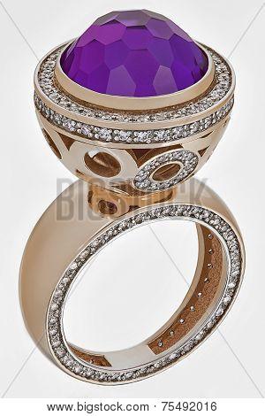 Golden Ring With Diamonds Gemstones