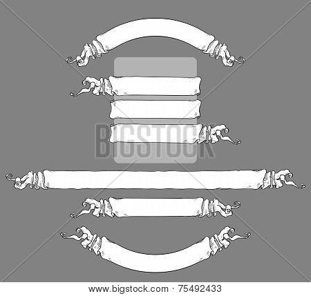 Black & white vintage ribbons set