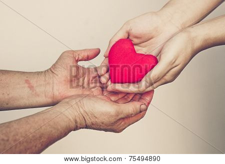 giving love to elderly people