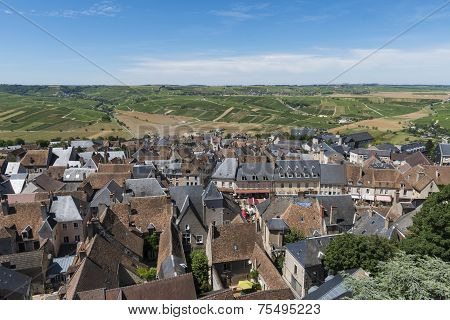 Vinyards And City Of Sancerre