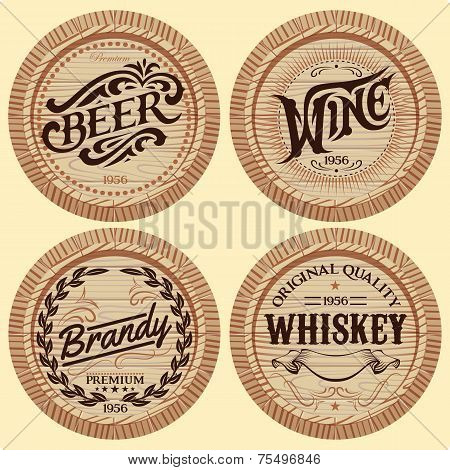 Set Vector Template Wooden Barrels For Alcoholic Beverages