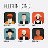 People of different religion in traditional clothing. Islam, judaism, buddhism, christianity, hinduism, amish. Religion vector symbols and characters. poster