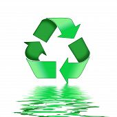 A Colourful Recycle Symbol Illustration with Water Reflections poster