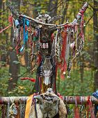 Offerings to the pagan gods in the forest temple. poster