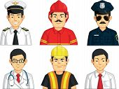A vector set of construction worker, doctor, fire fighter, pilot, police officer, and office worker. Drawn in cartoon style, this vector is very good for design that needs professions element in cute, funny, colorful and cheerful style. poster