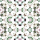 Kaleidoscope figure of greenish, pink, brown, turquoise and black stones poster