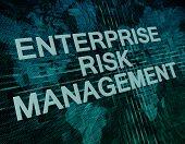 Enterprise Risk Management text concept on green digital world map background poster
