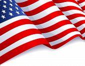 Vector illustration - USA flag in white background poster