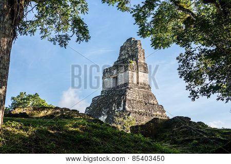 Mayan Ruins At Tikal, National Park. Traveling Guatemala, Central America.