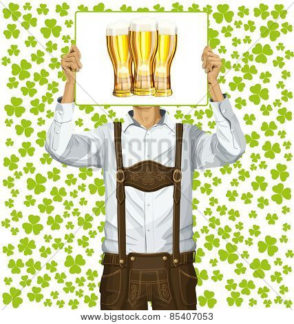 Idea concept. Vector Man with write board in lederhosen on St Patricks Day