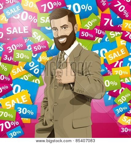 Vector hipster business man with beard shows well done on sale