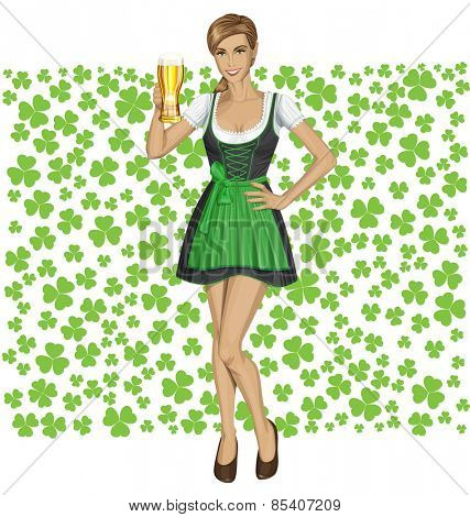 Vector cute woman in drindl on St Patricks day well done