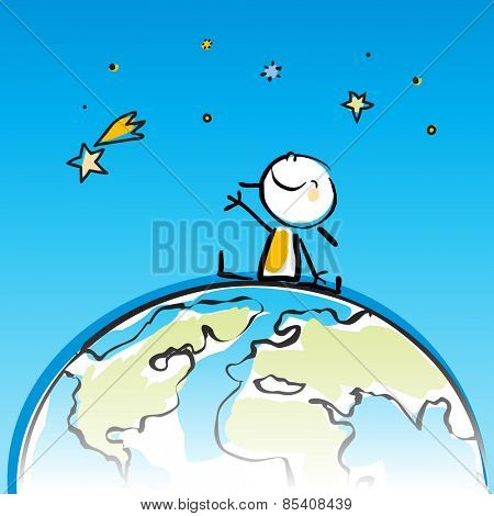 happy kid sitting on top of the globe, peace on earth concept in children's drawing style series. Vector line art, doodle style sticky figure.