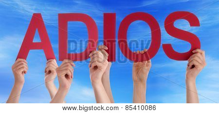 People Holding Straight Spanish Word Adios Means Goodbye Blue Sky