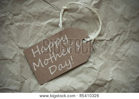 Beige Label With Happy Mothers Day Paper Background