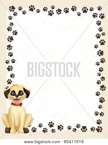 Paw Prints Border With Dog