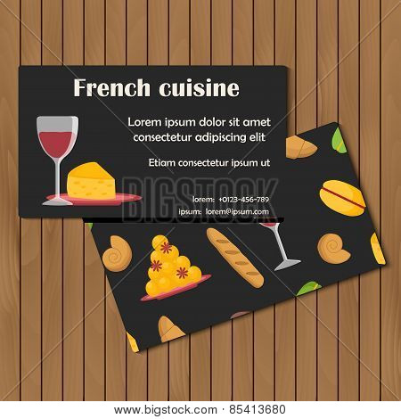 Template for card or booklet with cartoon french food