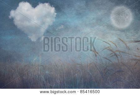 Heart cloud and moon over field grunge textured