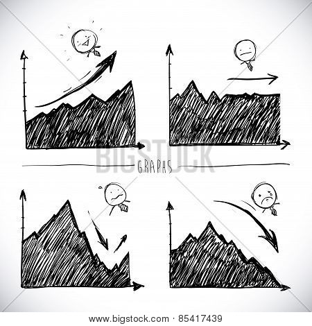 drawn infographics over white background vector illustration