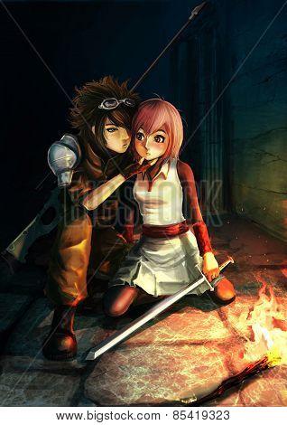 Fantasy Illustration Of A Modern Sniper Kissing A Cute Warrior Girl In Dark Dungeon