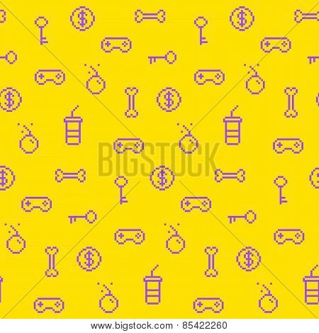 Seamless Oldschool Gaming Inspired Pattern, Game Icons, Achievements, 90S Background