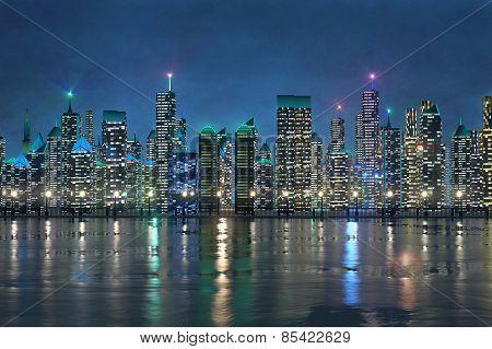 Shiny Night Cityscape On Riverbank
