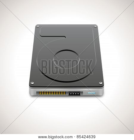 Vector HDD. Data Storage Hard Disc Drive Icon poster