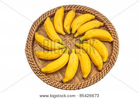 Ripe Bananas On A Bamboo Tray Isolate Whaitbackground With Clippingpath